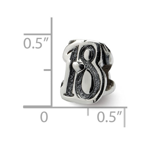 Authentic Reflections Sterling Silver Number 18 Eighteen Bead Charm
