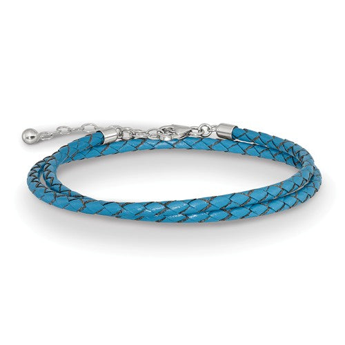 Blue Leather Braided Choker Necklace Bracelet Wrap with Sterling Silver Clasp