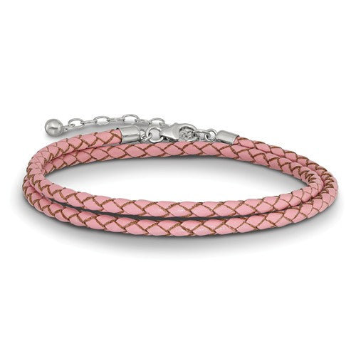 Pink Leather Braided Choker Necklace Bracelet Wrap with Sterling Silver Clasp