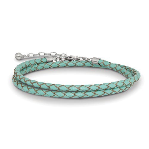 Teal Blue Green Leather Braided Choker Necklace Bracelet Wrap with Sterling Silver Clasp