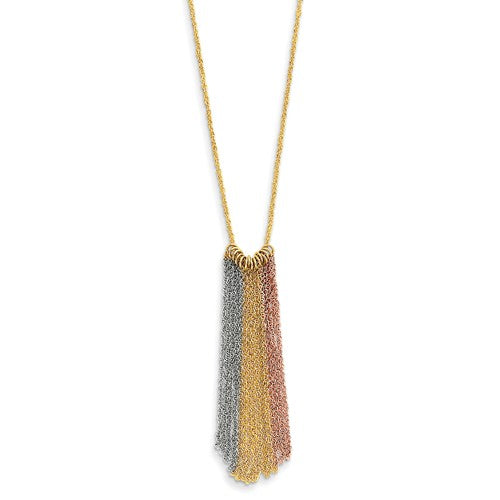 14k Yellow Rose White Gold Tri Color Fringe Tassel Chains Dangle Necklace