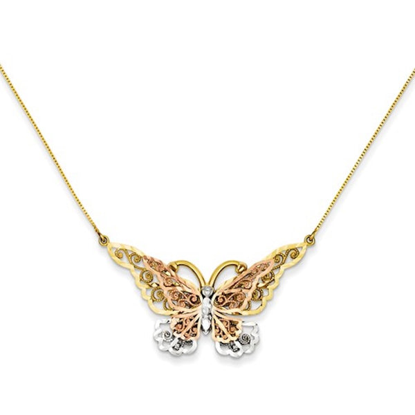 14k Gold Tri Color Butterfly Necklace 17 inches