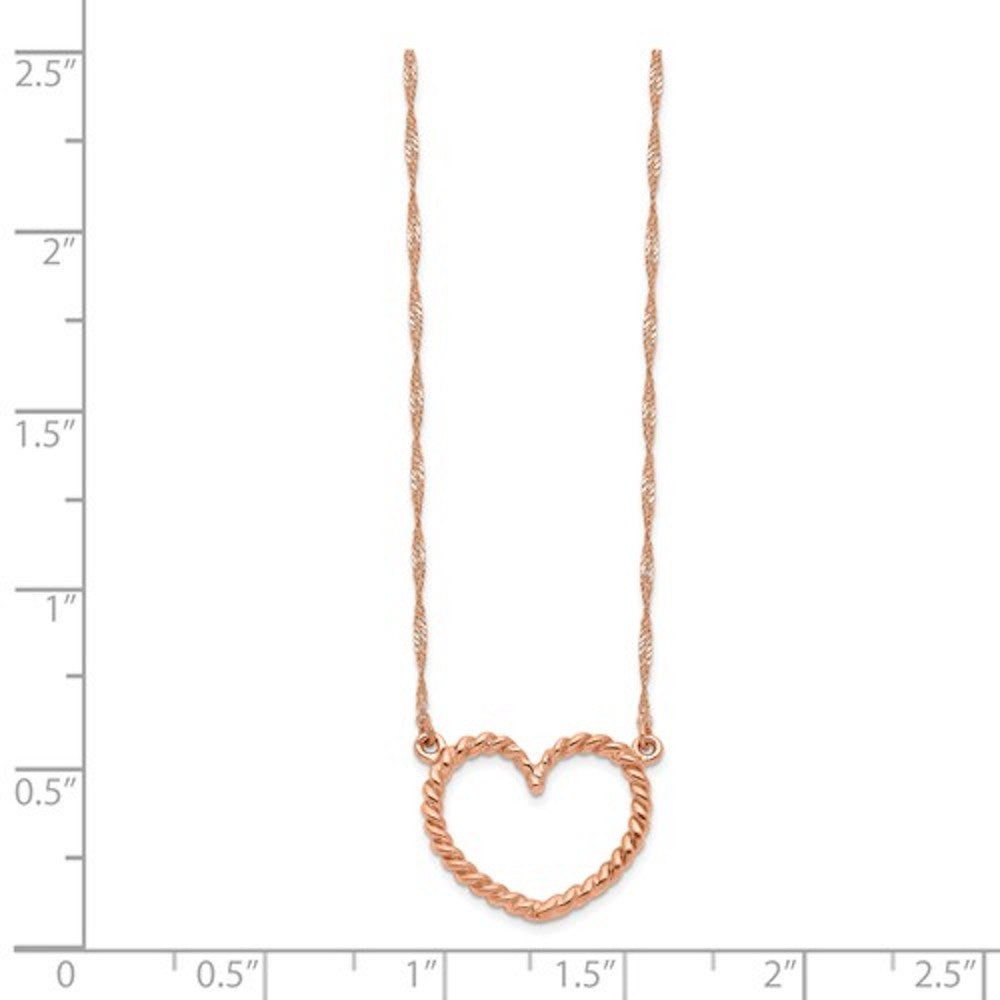 14k Rose Gold Heart Necklace 17 inches