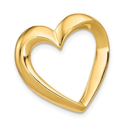 14k Yellow Gold Floating Heart Chain Slide Pendant Charm
