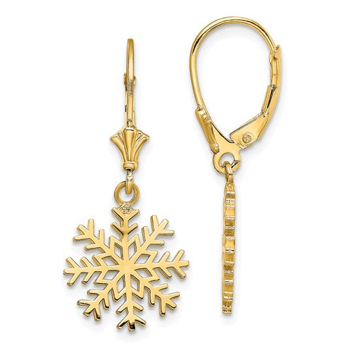 14k Yellow Gold Snowflake Leverback Dangle Earrings
