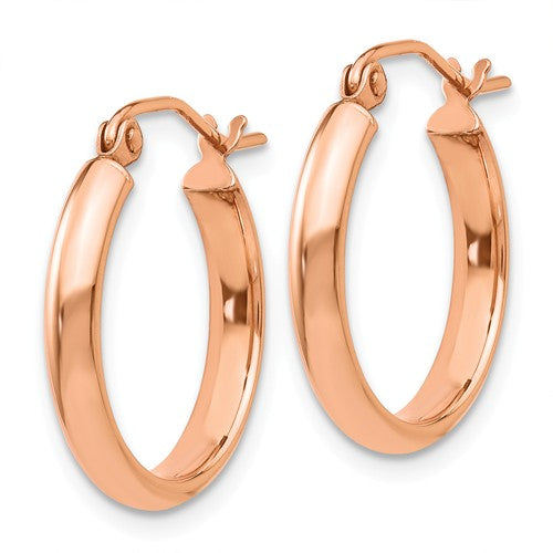 14K Rose Gold 18mm x 2.75mm Classic Round Hoop Earrings
