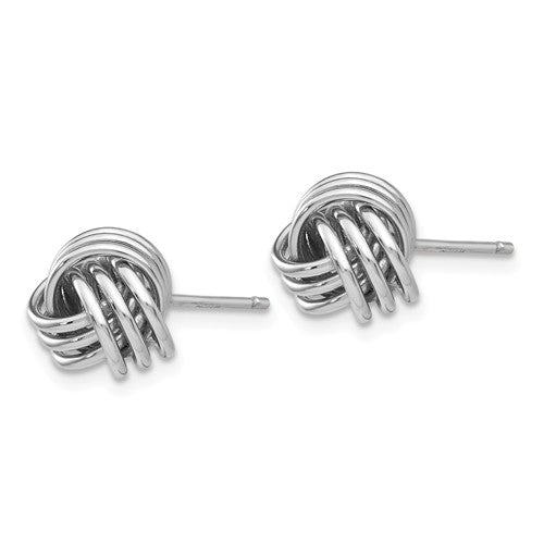 14k White Gold Small Love Knot Stud Post Earrings