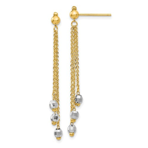 14k Yellow White Gold Two Tone Multi Chain Faceted Bead Ball Dangle Earrings