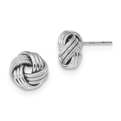 14k White Gold 11mm Classic Love Knot Stud Post Earrings