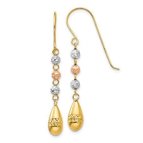 14k Yellow Rose White Gold Tri Color Puffy Teardrop Beads Hook Dangle Earrings