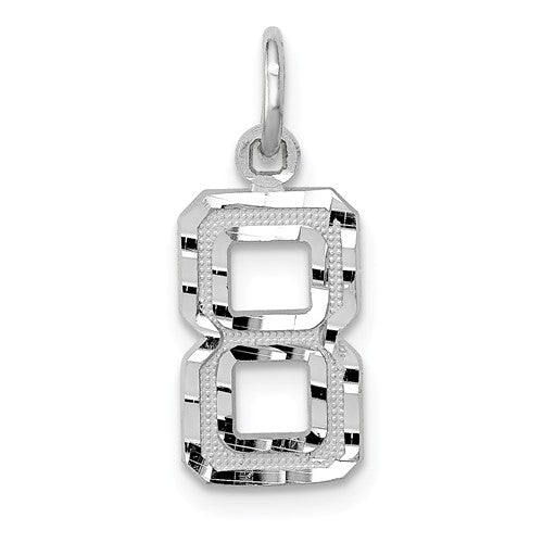 14k White Gold Number 1 2 3 4 5 6 7 8 9 0 One Two Three Four Five Six Seven Eight Nine Zero Diamond Cut Pendant Charm