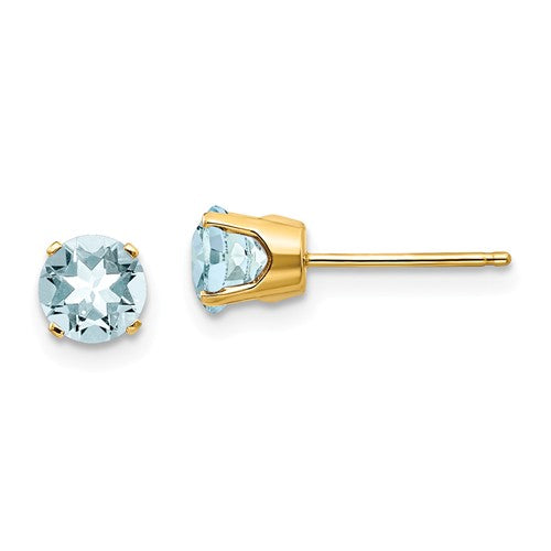 14k Yellow Gold 5mm Round Aquamarine Stud Earrings March Birthstone