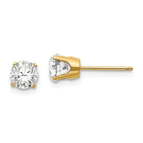 14k Yellow Gold 5mm Round White Topaz Stud Earrings April Birthstone