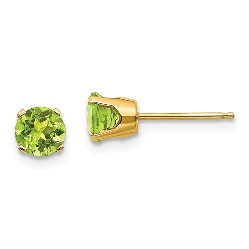 14k Yellow Gold 5mm Round Peridot Stud Earrings August Birthstone