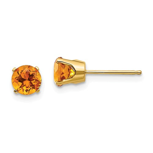 14k Yellow Gold 5mm Round Citrine Stud Earrings November Birthstone