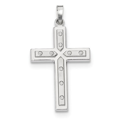 14k White Gold Cross Pendant Charm