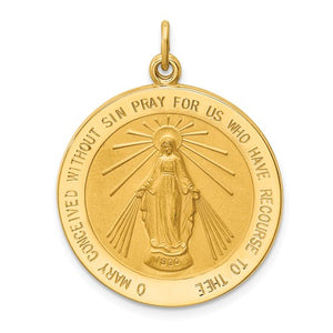 14k Yellow Gold Blessed Virgin Mary Miraculous Round Pendant Charm
