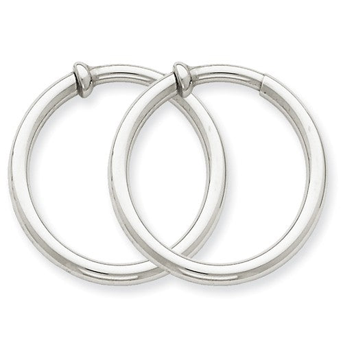 14k White Gold 24mm x 2.5mm Non Pierced Round Hoop Earrings