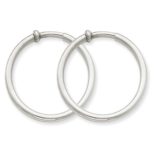 14k White Gold 29mm x 2.5mm Non Pierced Round Hoop Earrings