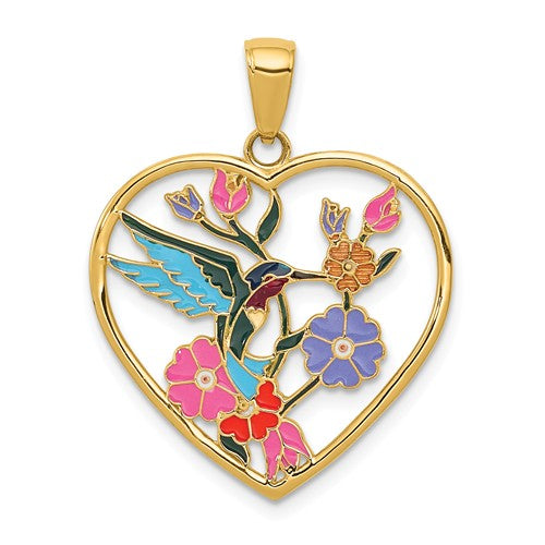 14k Yellow Gold Enamel Hummingbird Flowers Heart Pendant Charm