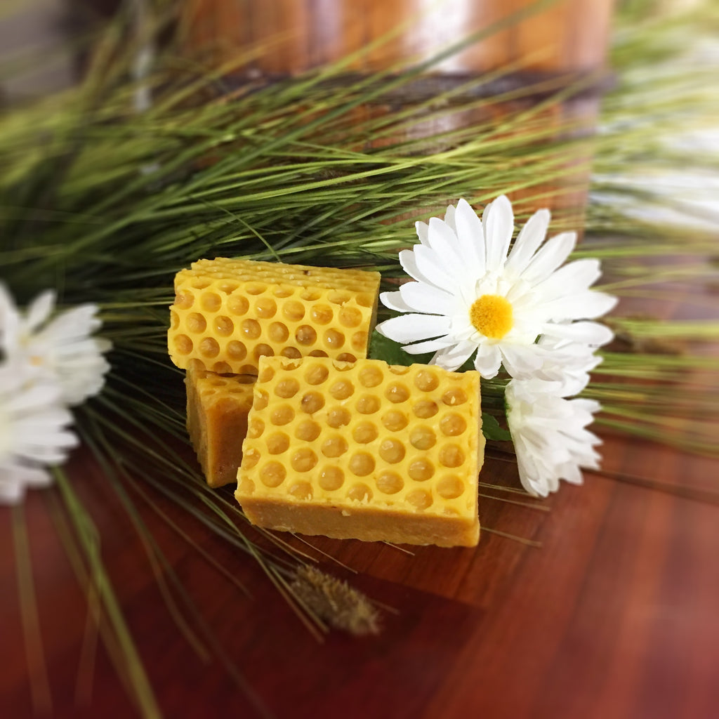 Honey & Orange Goat Milk Soap: Gorgeous honeycomb pattern throughout entire bar scented with Orange Essential Oil