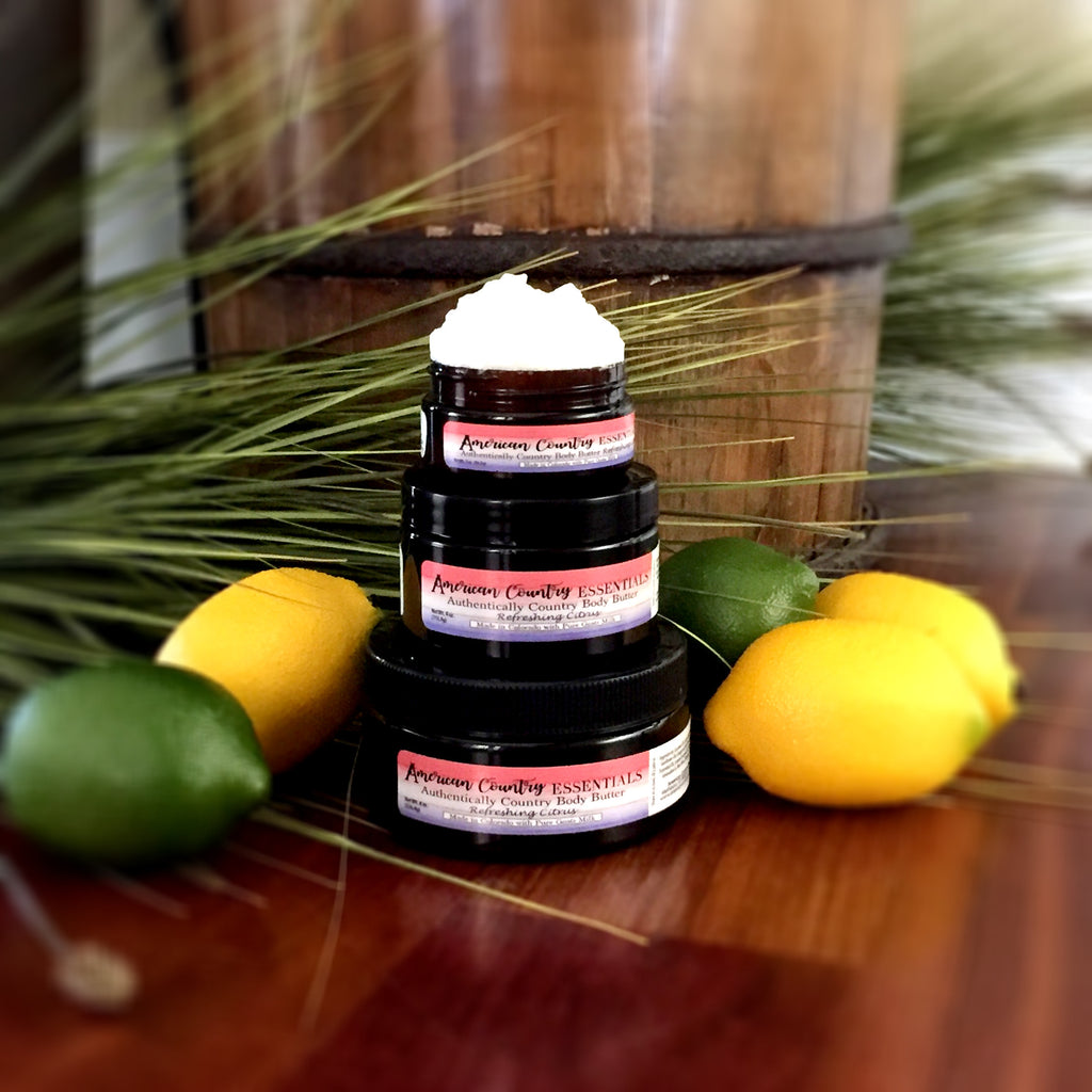 Citrus Goat Milk Lotion | Three sizes: 2oz, 4oz, & 8oz; all three in a beautiful amber container with an attractive red, white, and blue label