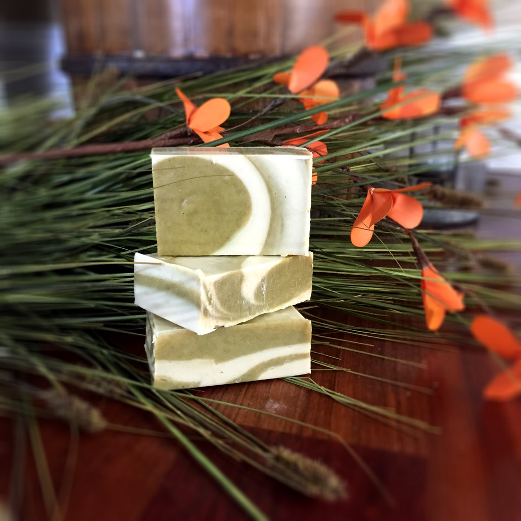 Eucalyptus Goat Milk Soap: Beautiful green and white swirl design throughout the entire bar of soap