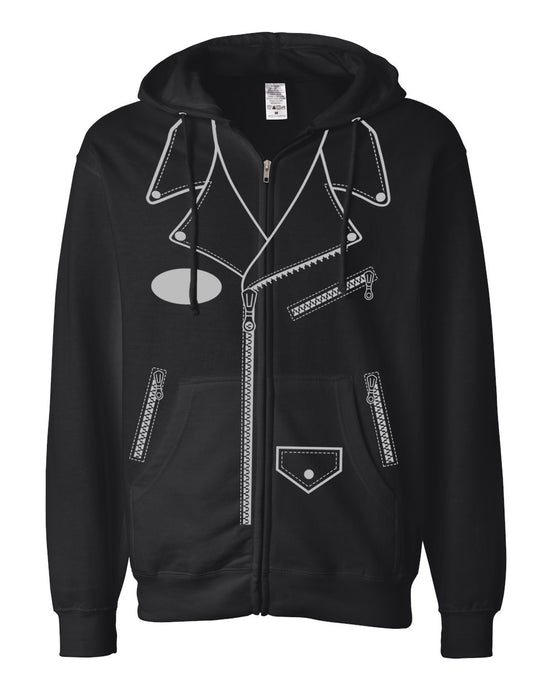 LEATHER JACKET HOODIE - BLACK