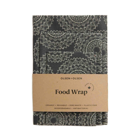 Set of 3 Beeswax Wraps Black Mandala design