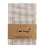 Set of 3 Beeswax Wraps Beige Gingham