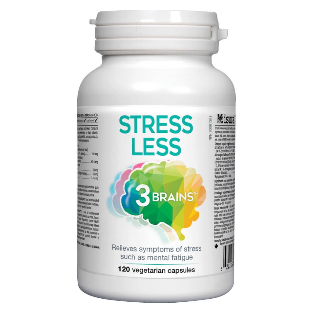 Bottle of 3 Brains Stress Less 120 Vegetarian Capsules | Kolya Naturals, Canada
