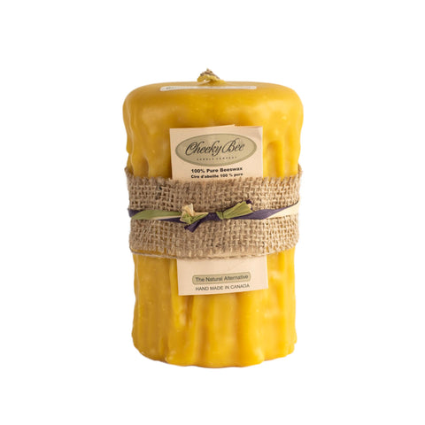 Signature Dripped Pillar Beeswax Candle (Gold, 3.5x5 inches)