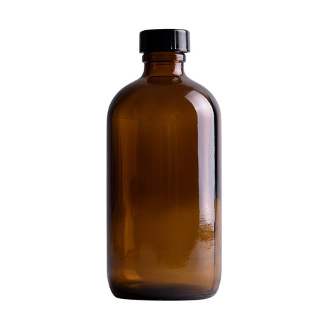 Earth's Aromatique - Amber Glass Round Bottle w/ Black Lid 8oz | Kolya Naturals, Canada