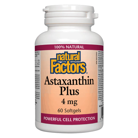 Bottle of Natural Factors Astaxanthin Plus 4 Milligrams 60 Softgels