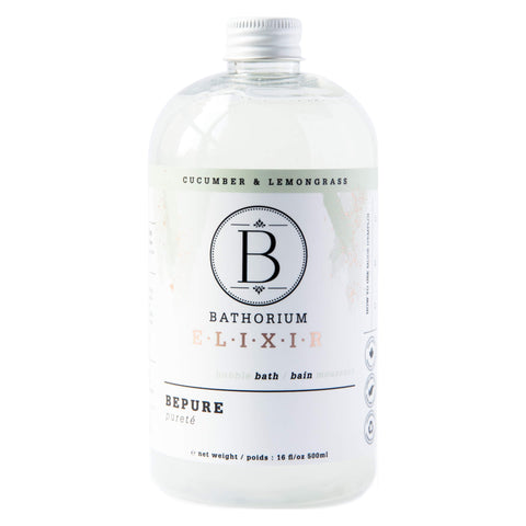Bottle of Bathorium Elixir BePure Cucumber & Lemongrass 500 Milliliters | Kolya Naturals, Canada