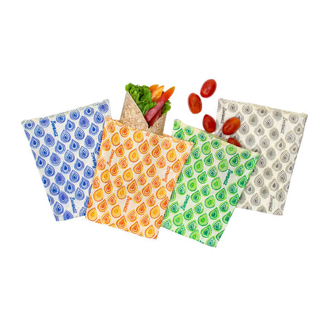 BeeBagz - Reusable Beeswax Wrap Bag Small Size Lifestyle (Five Pack)
