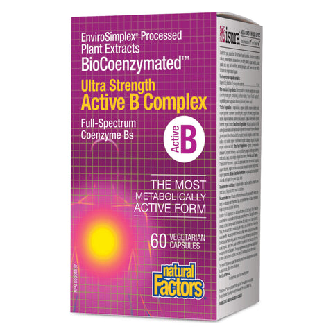 Bottle of Natural Factors BioCoenzymated Active B Complex Ultra Strength 60 Vegetarian Capsules