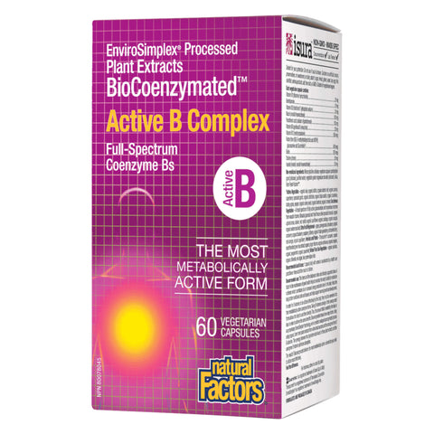 Bottle of Natural Factors BioCoenzymated Active B Complex 60 Vegetarian Capsules