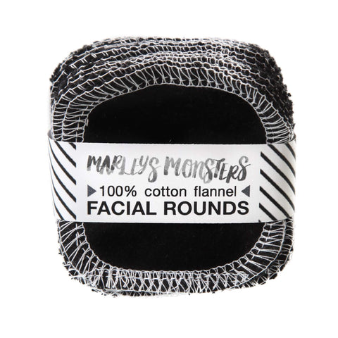 Marley's Monsters  Reusable Facial Rounds Black Flannel