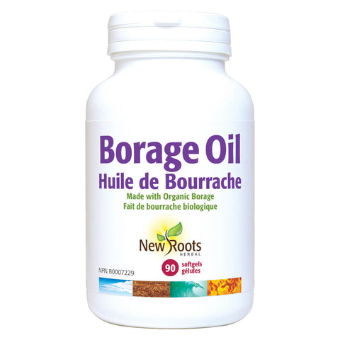 Bottle of New Roots Borage Oil 1000 mg 90 Softgels