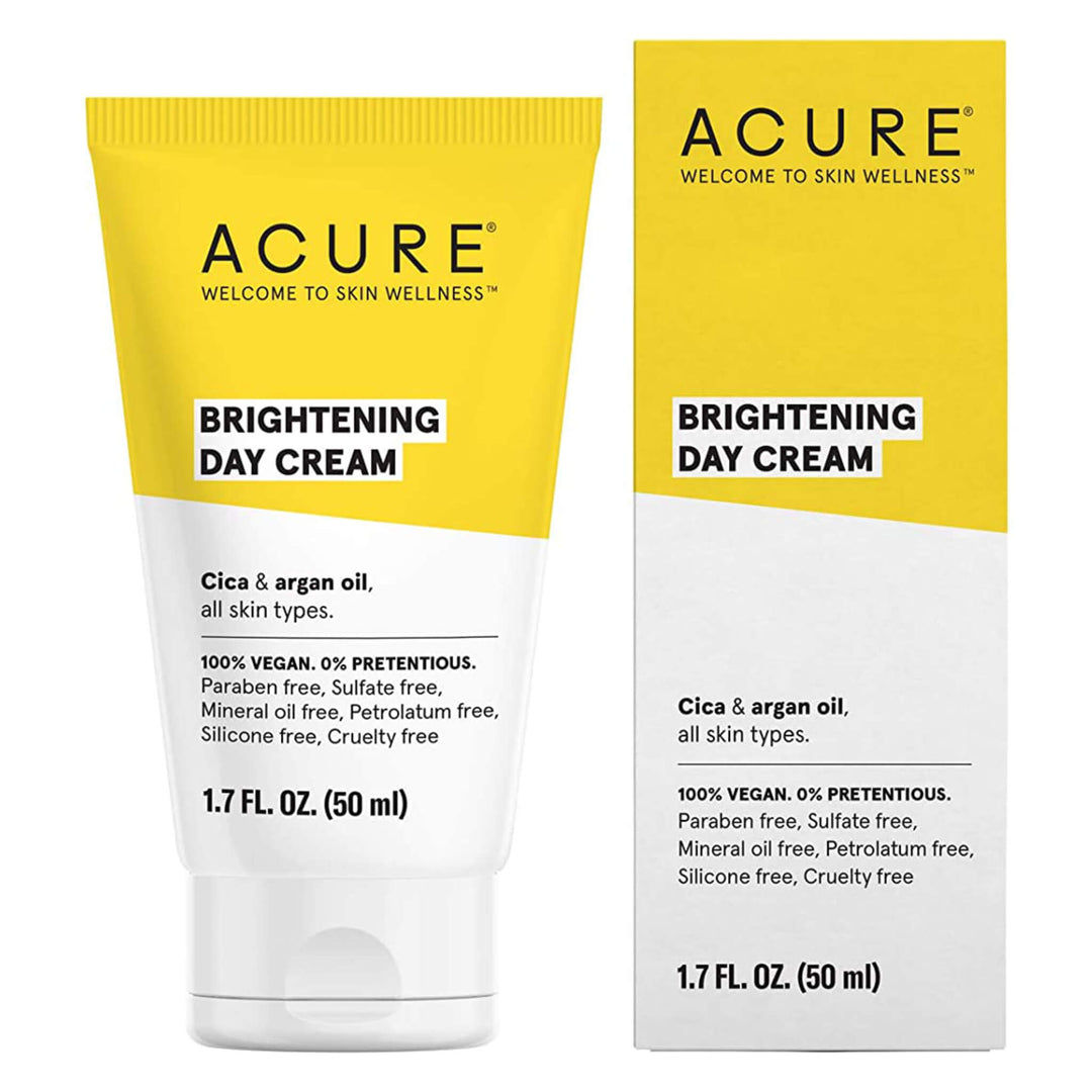 Bottle and Box of Acure Brightening Day Cream 1.7 Fluid Ounces