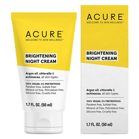 Bottle and Box of Acure Brightening Night Cream 1.7 Fluid Ounces