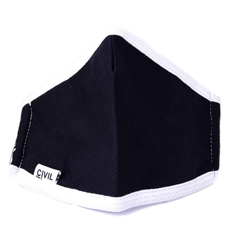 Civil 100% Polyester Triple Layer Reusable Civilian Mask, Youth-Black/White