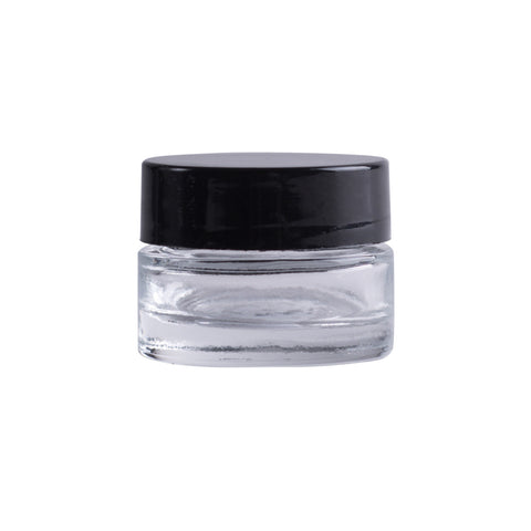 Earth's Aromatique - Clear Glass Thick Wall Jar w/ Black Cap 1/4oz | Kolya Naturals