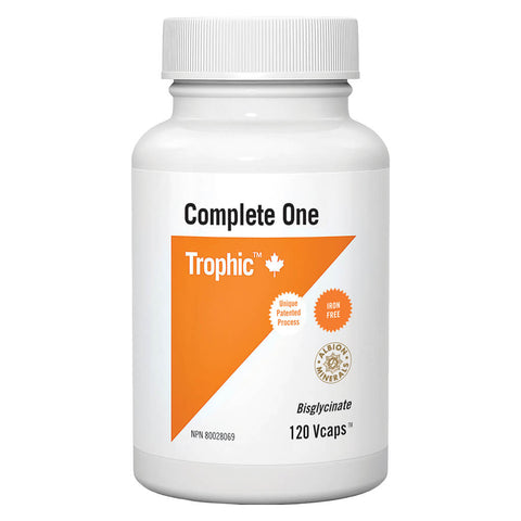 Bottle of Trophic Complete One Multivitamin Iron-Free 120 V-Capsules