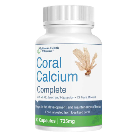 Bottle of Optimum Health Vitamins Coral Calcium Complete 90 Capsules