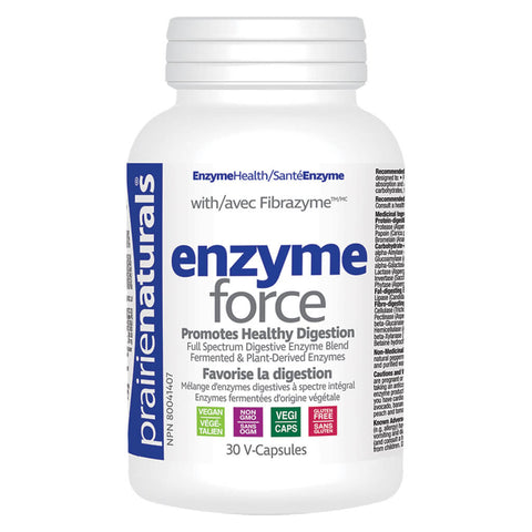 Bottle of Prairie Naturals Enzyme Force 30 V-Capsules | Kolya Naturals, Canada