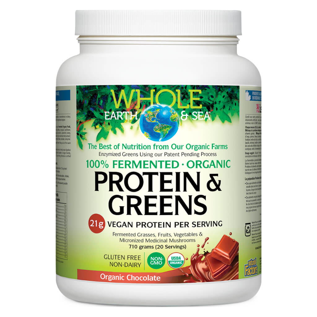 Bottle of Whole Earth & Sea 100% Fermented Protein & Greens Organic Chocolate Flavour 710 Grams | Kolya Naturals, Canada