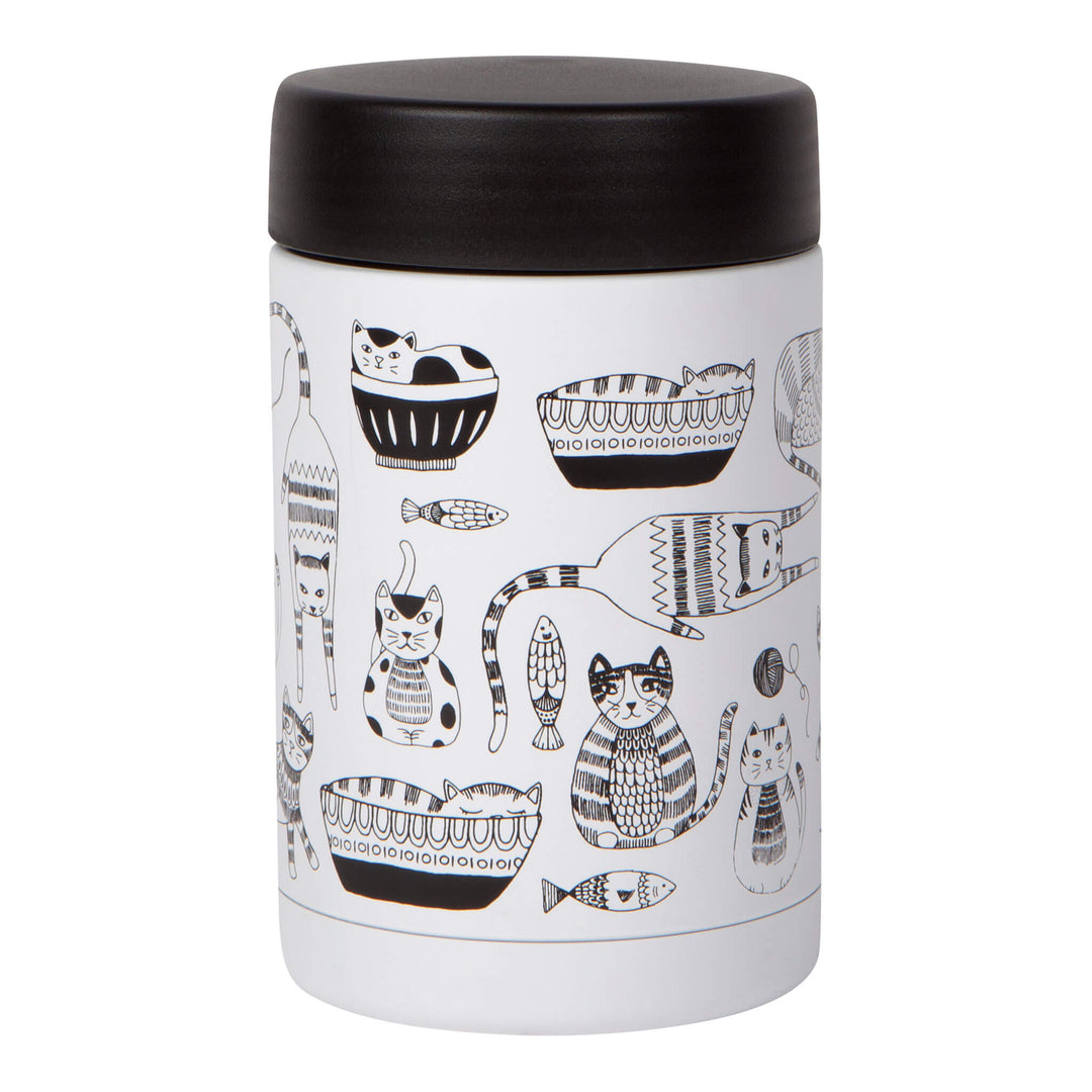 Now Designs Reusable Thermal Food Jar Cat Design Purr Party