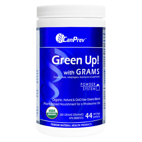 Bottle of CanPrev Green Up! with GRAMS Powder System 300 Grams | Kolya Naturals, Canada